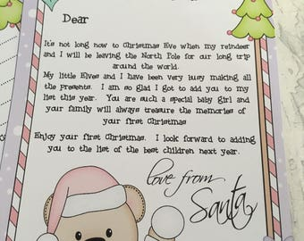 Personalised baby girls first Christmas list letter from santa, Christmas letter, Santa letter, Baby first Christmas keepsake, Christmas2017