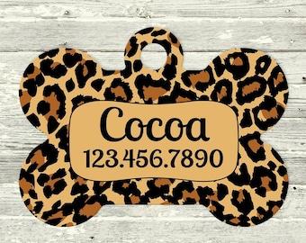 Dog Tag Personalized Tags Pet ID Collar Name Leopard Print Bone Shape