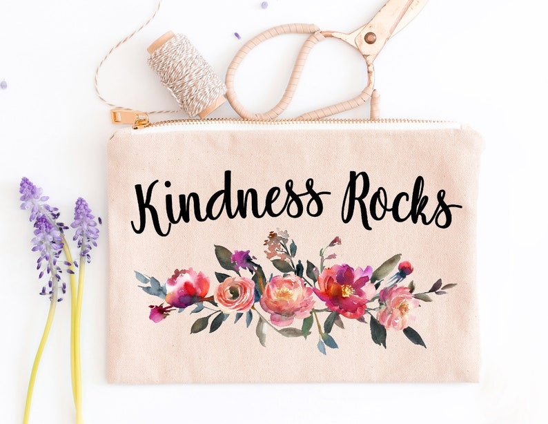 Canvas Makeup Bag Kindness Rocks Cute Cosmetic Bag Graduation Gift Floral Makeup Bag Gift For Her Birthday Gift For Her