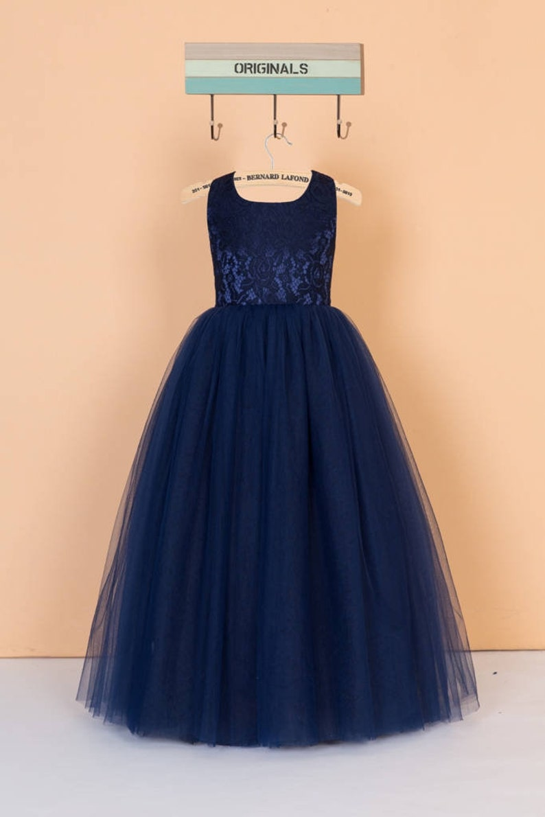 6a7c3509b Navy blue flower girl dress lace pageant dress tulle toddler