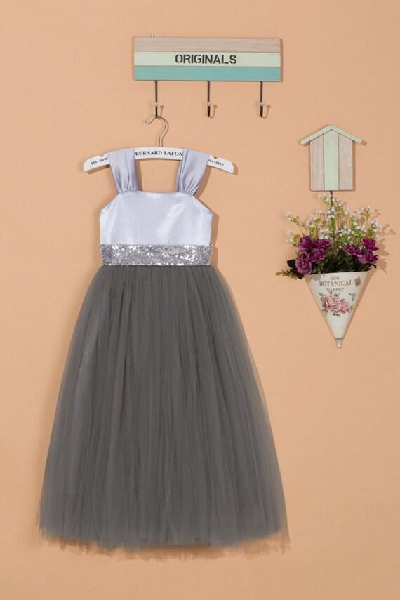 9036aa5c32f Grey flower girl dress silver grey sequin dress tulle flower