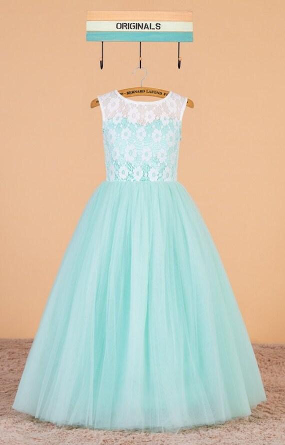 8140b4428ec Mint flower girl dress   lace pageant dress   mint green girl