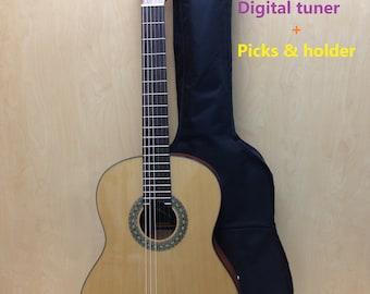 Full Size Caraya Solid Spruce Top,Nylon String Classical Guitar+Free Bag C-978N