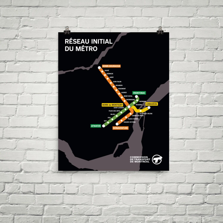 Jahrgang 1967 Montreal Metro Karte Poster Rétro planen erste