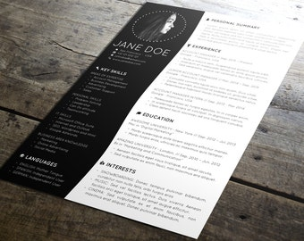 Minimal Resume Template Design + Cover Letter | Creative CV Template | Modern Format | MS Office Word / PowerPoint | PDF | Instant Download