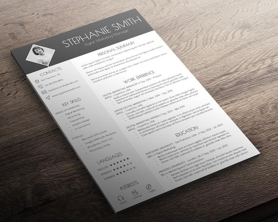 resume cover letter business card modern cv template
