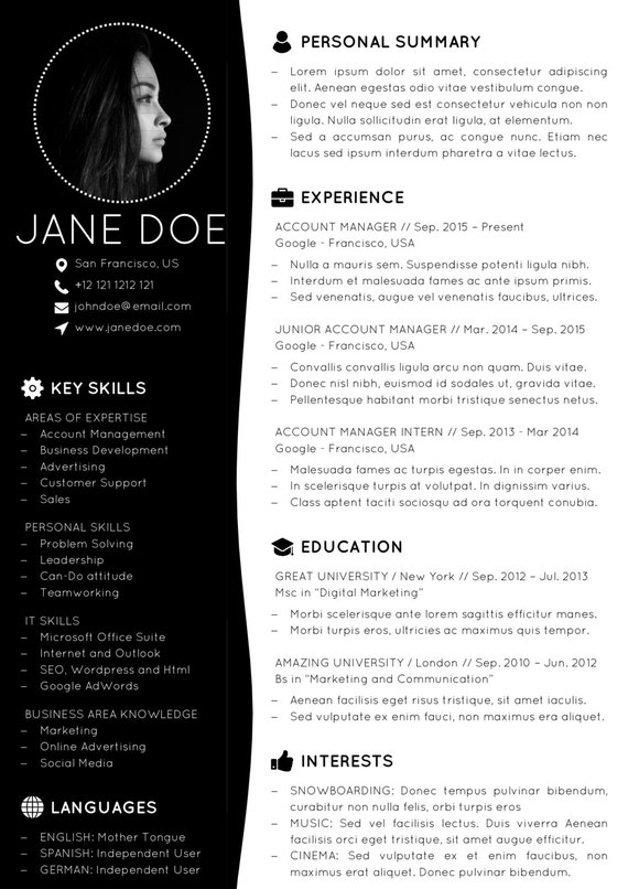 Minimal Resume Template Design + Cover Letter   Creative CV Template    Modern Format   MS Office Word / PowerPoint   PDF   Instant Download