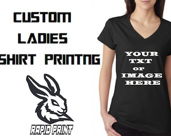 Ladies Personalised Printed T-shirt - Custom made with Quality Textile Vinyl