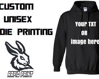 Mens n' ladies Custom & Personalised Printed Hoodie - Quality Textile Vinyl