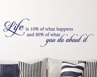 Life is 10% of what happens and 90 of what you do about it - Wall decal quote - Home Decor - Inspirational Quote Decal - Motivational Decals