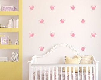 Crown Wall Decals - Set of 50 Princess Crown Decal Set - Crown Pattern Decals - Girls wall decor - Gold Crown Wall Decals - Baby Girl