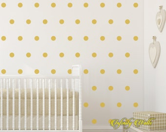 Gold Polka Dot Wall Decor Decals - 120Gold Polka Dot Decal Set - Gold Pattern Decals - Nursery room decor - Confetti Polka Dot Wall Decals