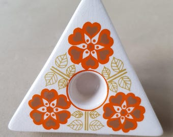 Vintage Ceramic Floral  Geometric 1970s Candlestick by Jersey Pottery Very Retro! Candle Holder