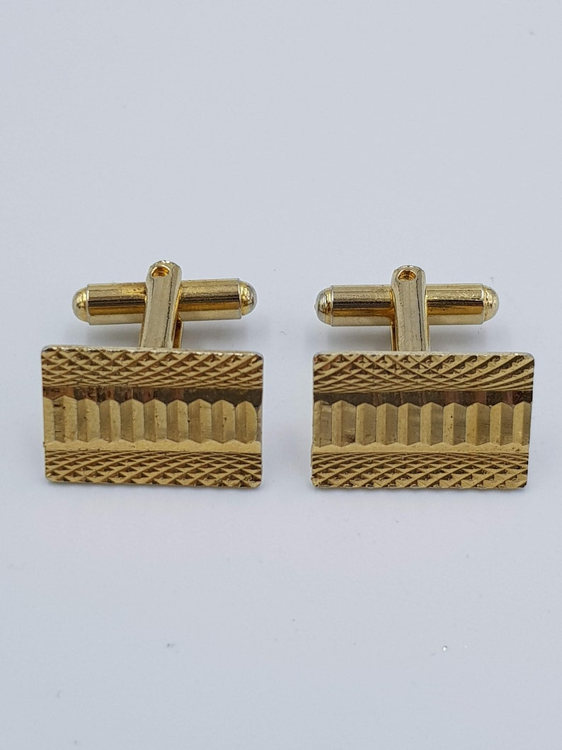 Gold Tone Metal Vintage Gilt Cuff Links with Engine Turned Pattern c1970s Rectangular Cuff Links