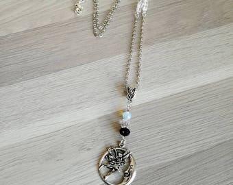 Moonstone necklace - pagan - fairy - Moon - wicca - Swarowski - Bohemian - boho - Celtic - cubic Swarovski - original - fairytale