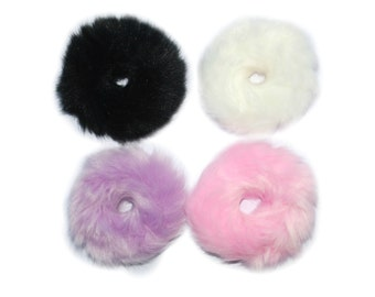Pink/White Fluffy Fur Scrunchie Hair Tie
