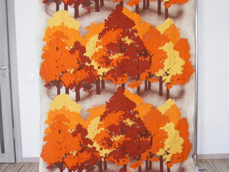 Retro Scandinavian autumn forest trees orange brown cotton fabric curtain panel High quality vintage fabric design from Scandinavia
