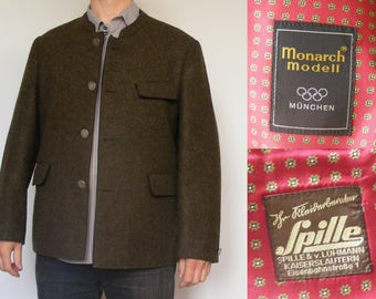 1972 Olympic Coat. Vintage Mens Munich Olympic Games Jacket Wool Mens Overcoat 70s Clothing