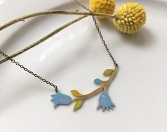 "Brass necklace ""Field harebell"""