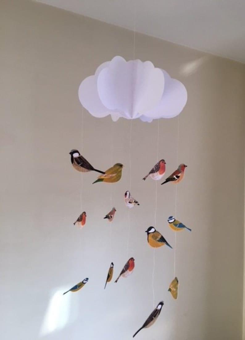 Mobile Bébé À Suspendre Au Plafond mobile bébé - mobile bébé british birds, nuage mobile, mobile bébé  suspendu, chambre de bébé mobile, mobile de papier 3d