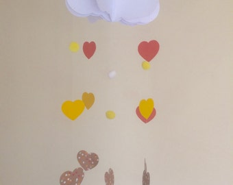 Baby Mobile - Heart Baby Mobile, Cloud Mobile, Hanging Baby Mobile, Nursery Mobile, 3D Paper Mobile