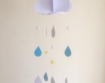 Baby Mobile - Rain drop Baby Mobile, Cloud Mobile, Hanging Baby Mobile, Nursery Mobile, 3D Paper Mobile