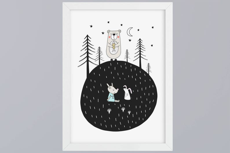Bear with fish-art print without frame