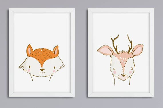 Set of 2 animals at your choice-art print without frame
