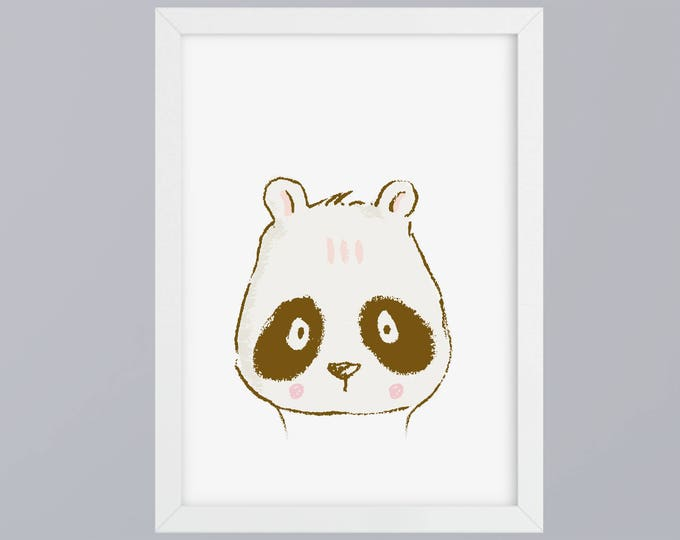 Panda drawn-art print without frame