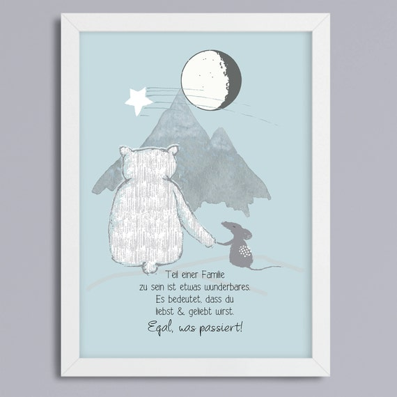 Bear and mouse-art print without frame