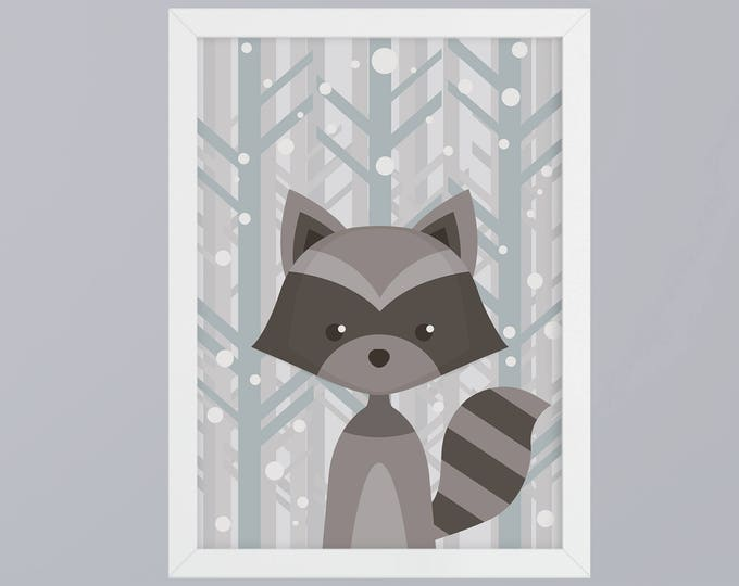 Raccoon Art print without frame