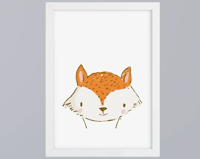 Fox drawn-art print without frame