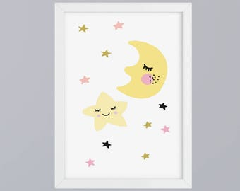Moon and stars - unframed art print
