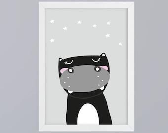 Hippo SW - unframed art print