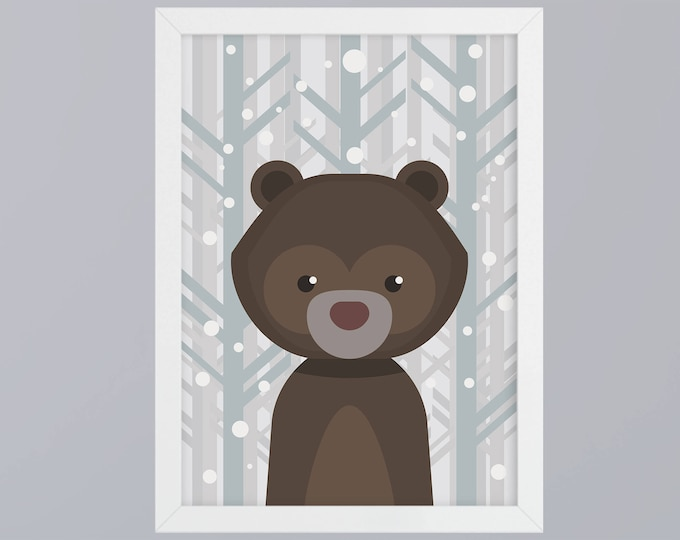 Bear-art print without frame