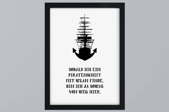 Pirate ship Anchor-art print without frame