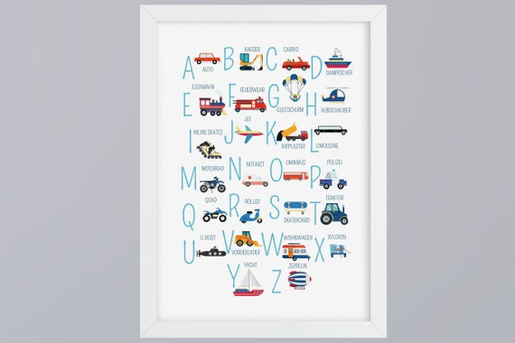 ABC-Vehicles-alphabet art print without frame