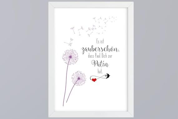 Patin Pate Zauberschön Personalisierter Kunstdruck Ungerahmt Geschenk Zur Taufe
