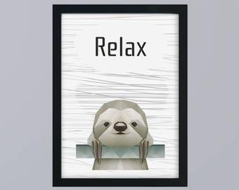 Subdivisional sloth - unframed art print