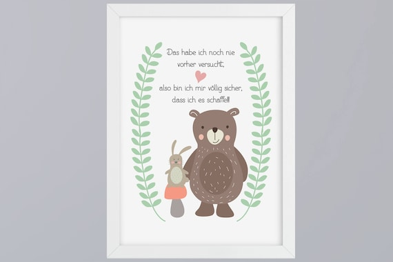 Bear and bunny-art print without frame
