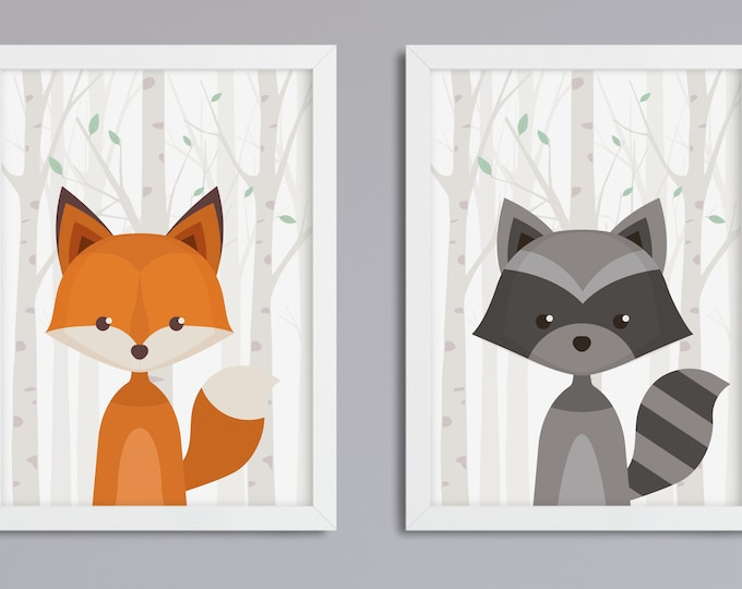 2-picture set forest animals of choice-art print without frame
