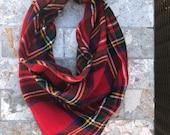 Red, Green, Black Yellow Holiday Tartan Flannel Shirting Plaid Pet Bandana Scarf