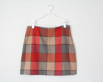 Vintage 90s Red Plaid Mini Skirt S