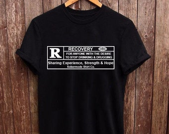 16104046f5 Rated R For Recovery .....sobriety apparel, sober shirt, recovery shirt, AA  shirt, NA shirt