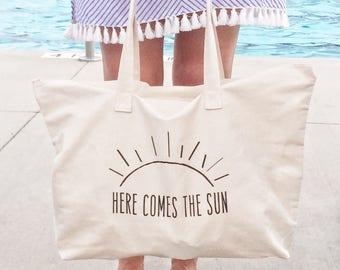 Beach Bag, Here Comes the Sun, Farmer's Market Bag, Canvas Tote Bag, Reusable Tote, Reusable Bag, Eco Friendly, Market Bag
