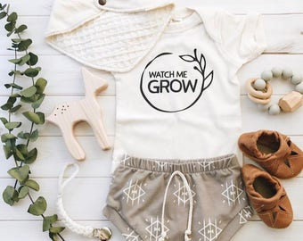 Watch Me Grow, Gender Neutral Coming Home Outfit, Organic Baby Outfit, Baby Clothes, Cute Baby Outfits, Gender Neutral Baby Shower Gift,