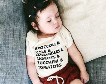 Veggie Baby, Veggie List, Gender Neutral Baby Clothes, Vegan Baby, Organic Baby Outfit, Vegetable Baby, Gender Neutral Baby Gift