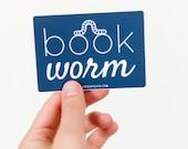 Bookworm Sticker, Vinyl Stickers, Book Lover, Laptop Sticker, Water Bottle Stickers