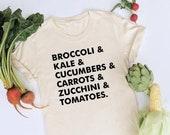 Veggie List Tee, Veggies Shirt, Vegetable Style, Vegan Shirt, Vegetables Shirt, Vegan T Shirt, Womens Tee, Garden Shirt, Vegetarian Shirt