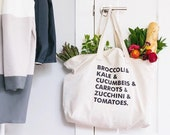 Veggie List Tote Bag, Choose Size and Color